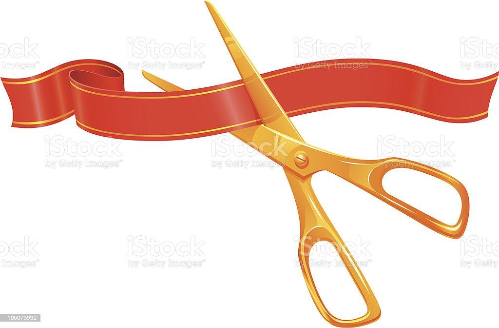Ribbon and scissors vector art illustration