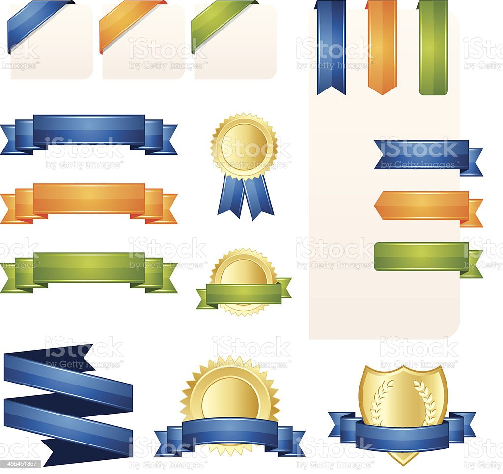 Ribbon, Banner and Label Set royalty-free stock vector art