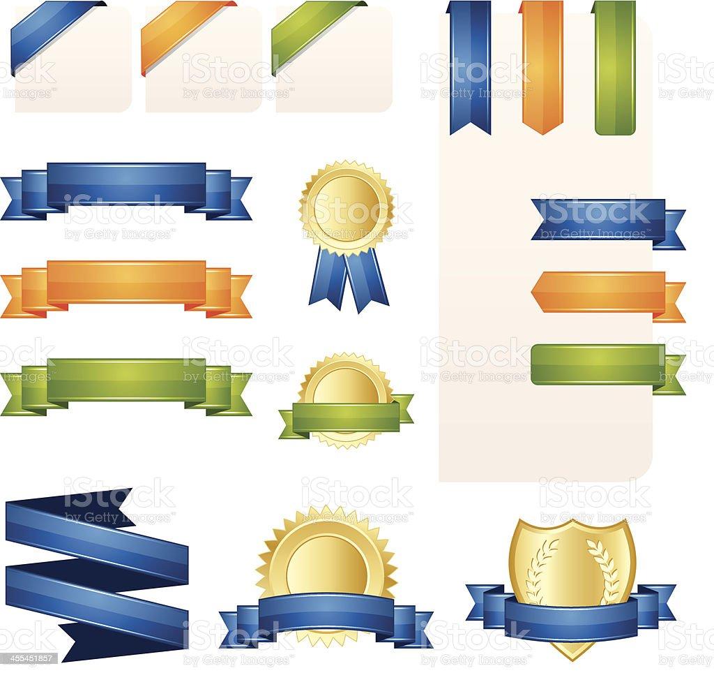 Ribbon, Banner and Label Set vector art illustration