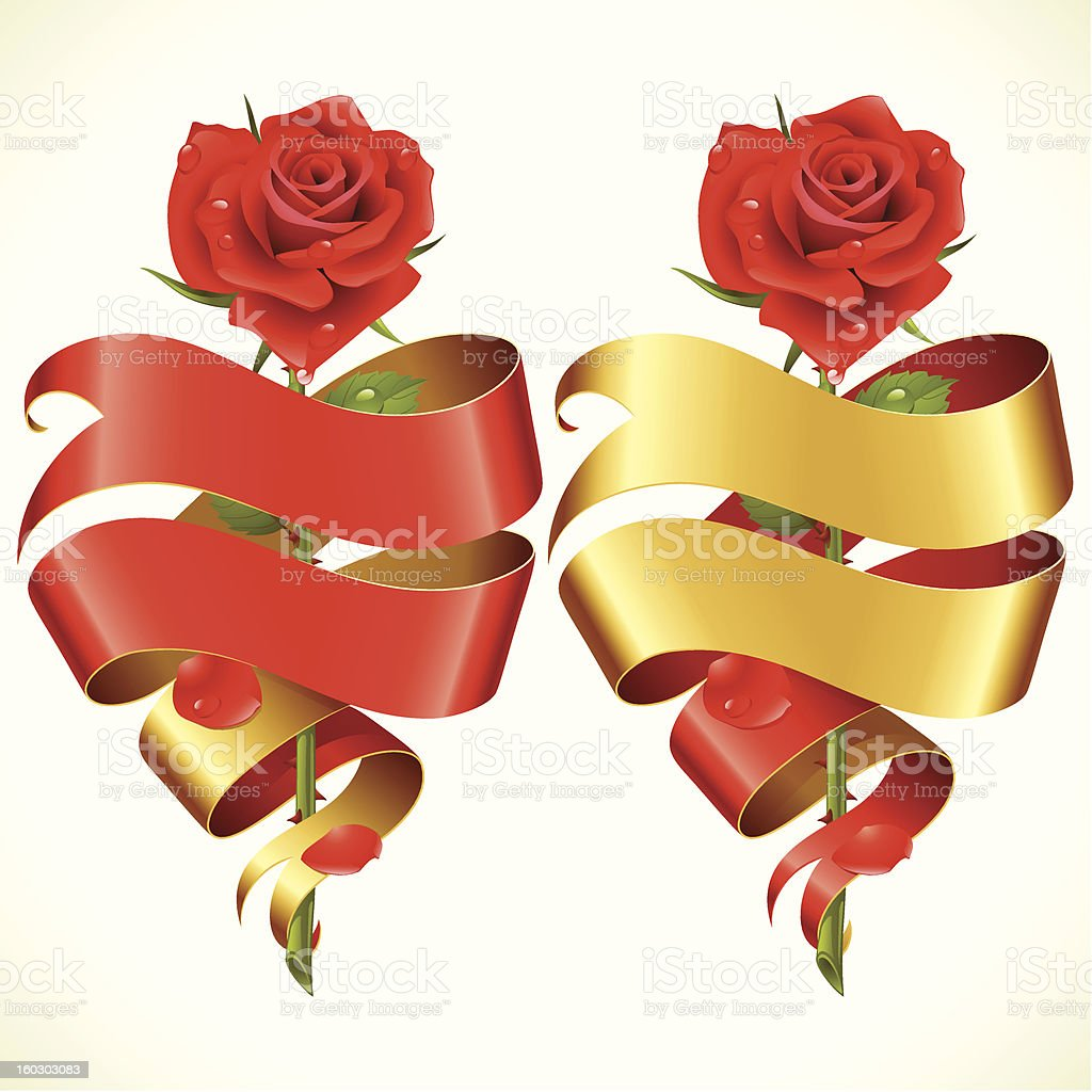 Ribbon banners in the shape of heart and red rose royalty-free stock vector art