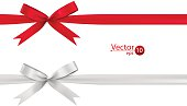 Ribbon bows - red, white, collection.