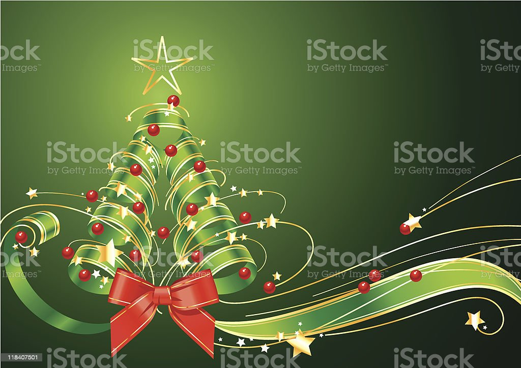Ribbon Christmas tree on green background royalty-free stock vector art
