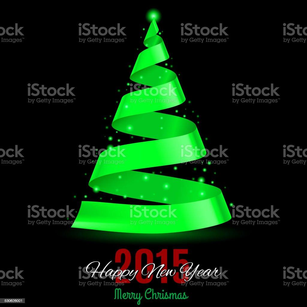 Ribbon Christmas tree. vector art illustration