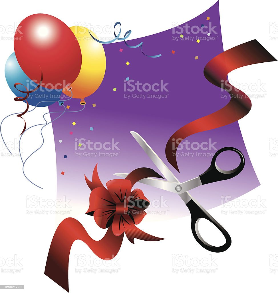 Ribbon Cutting Celebration royalty-free stock vector art