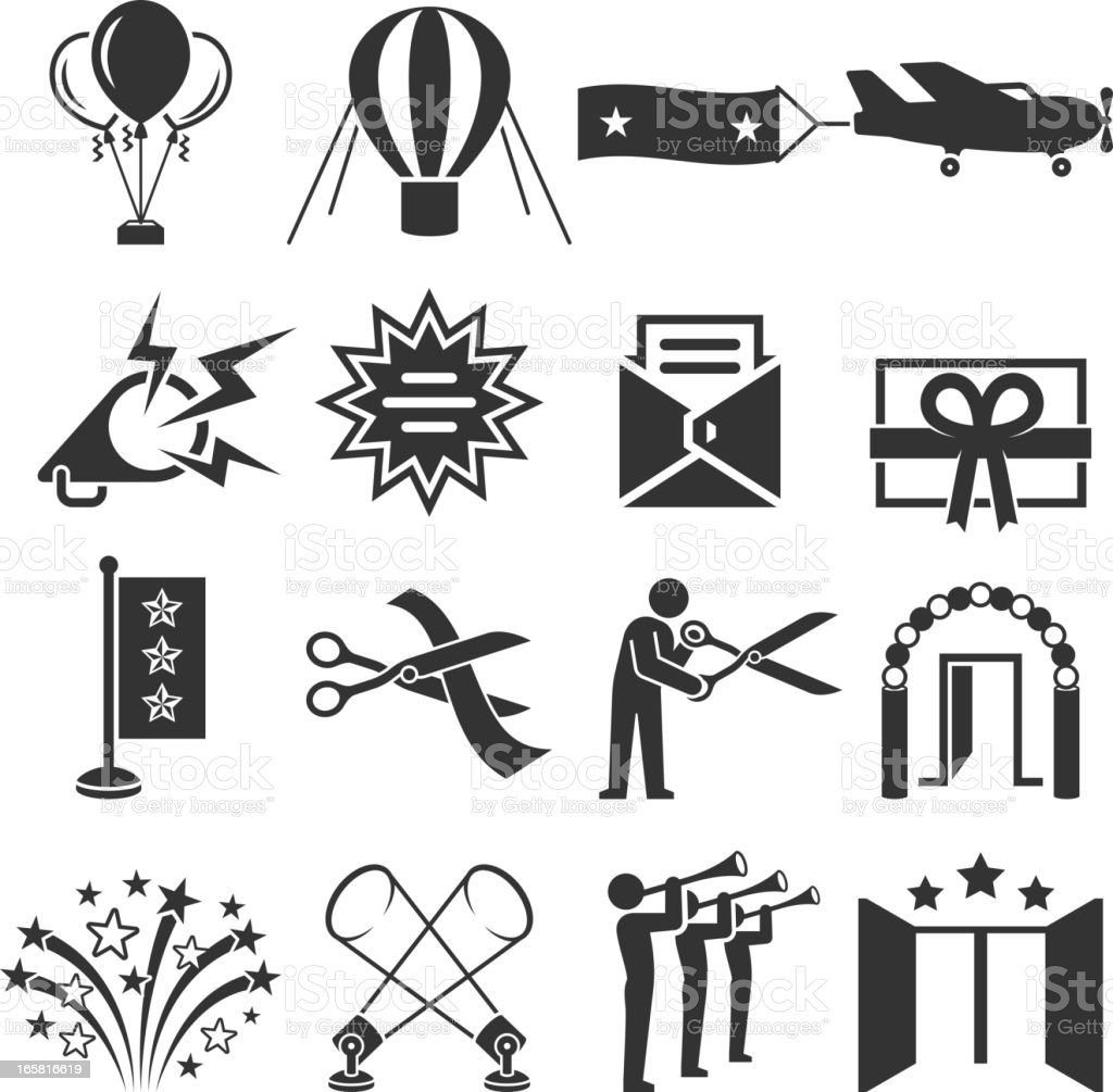 Ribbon Cutting Ceremony black & white vector icon set royalty-free stock vector art