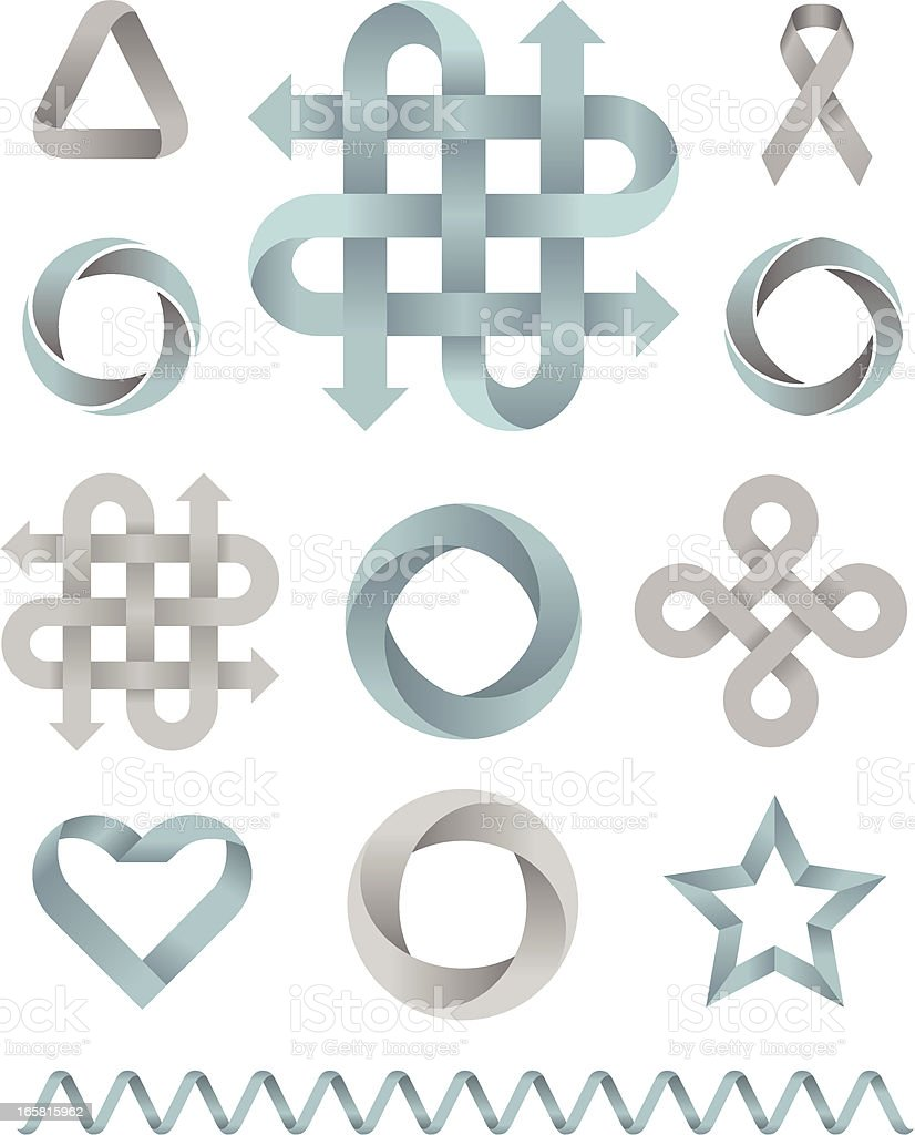 Ribbon Design Elements 3D vector art illustration