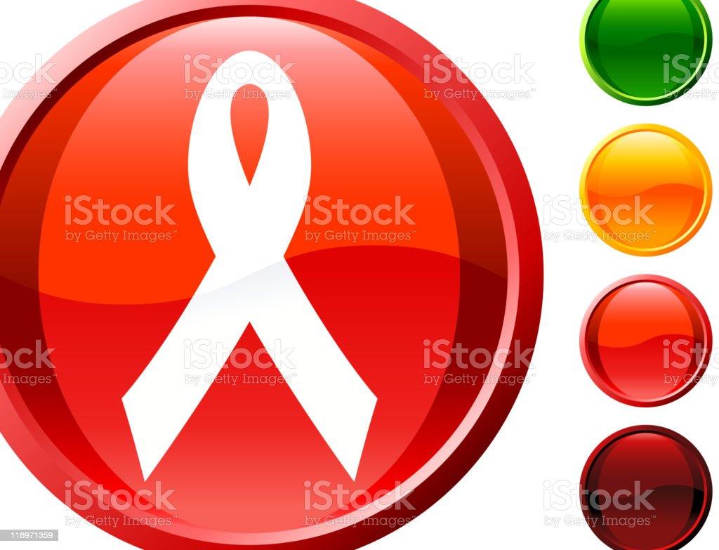 AIDS ribbon  glossy icon vector art illustration