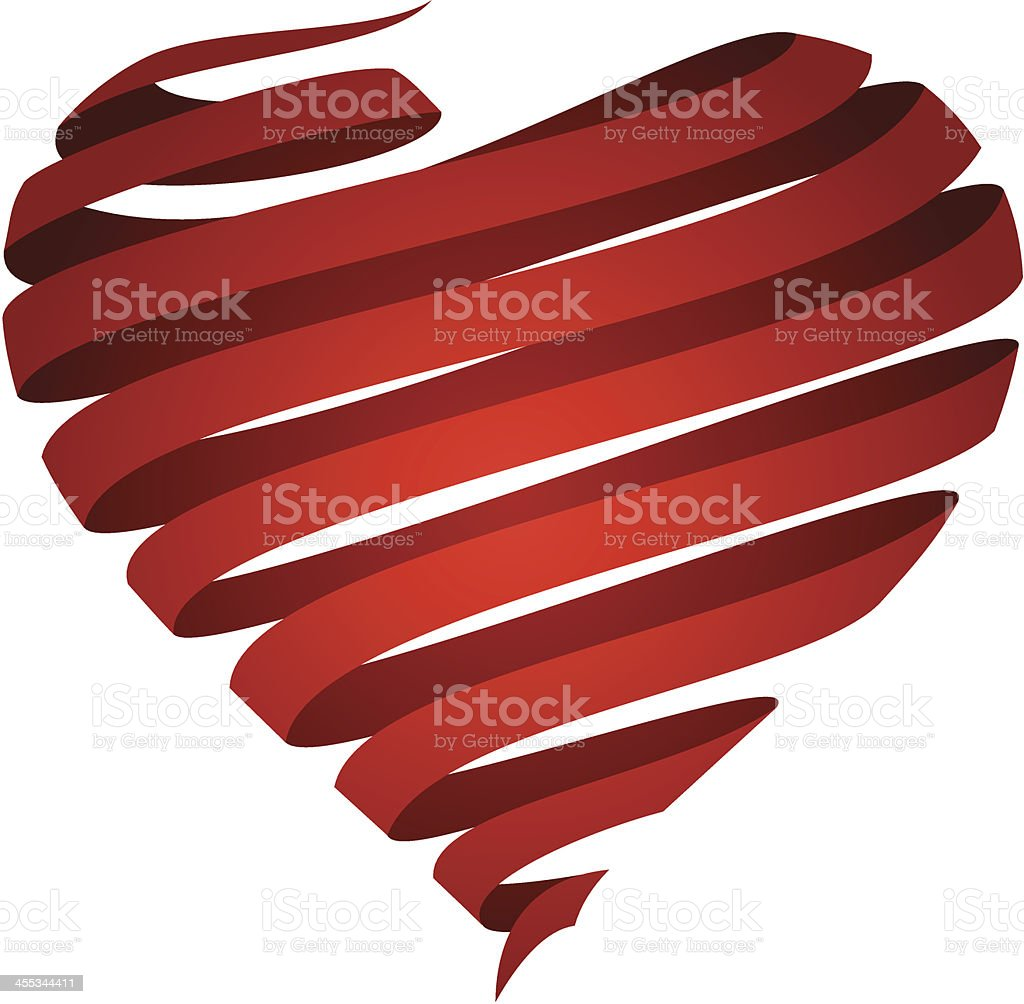 Ribbon Heart vector art illustration