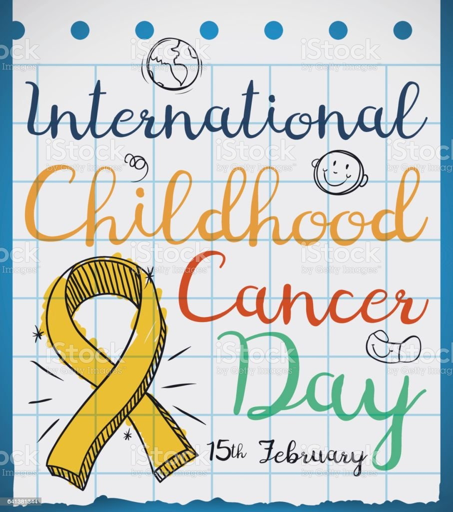 Ribbon in Doodle Style in Paper for Childhood Cancer Day vector art illustration