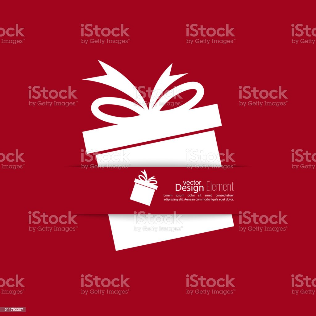 Ribbon in the form of gift  with shadow vector art illustration