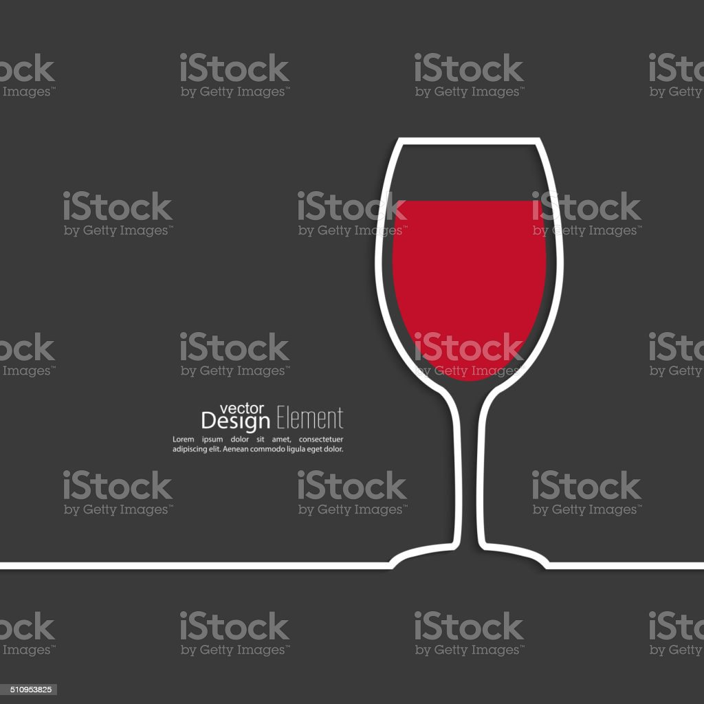Ribbon in the form of wine glass with shadow vector art illustration