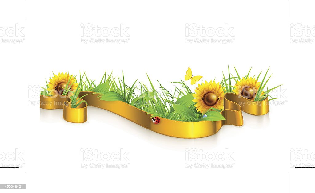 Ribbon in the grass royalty-free stock vector art