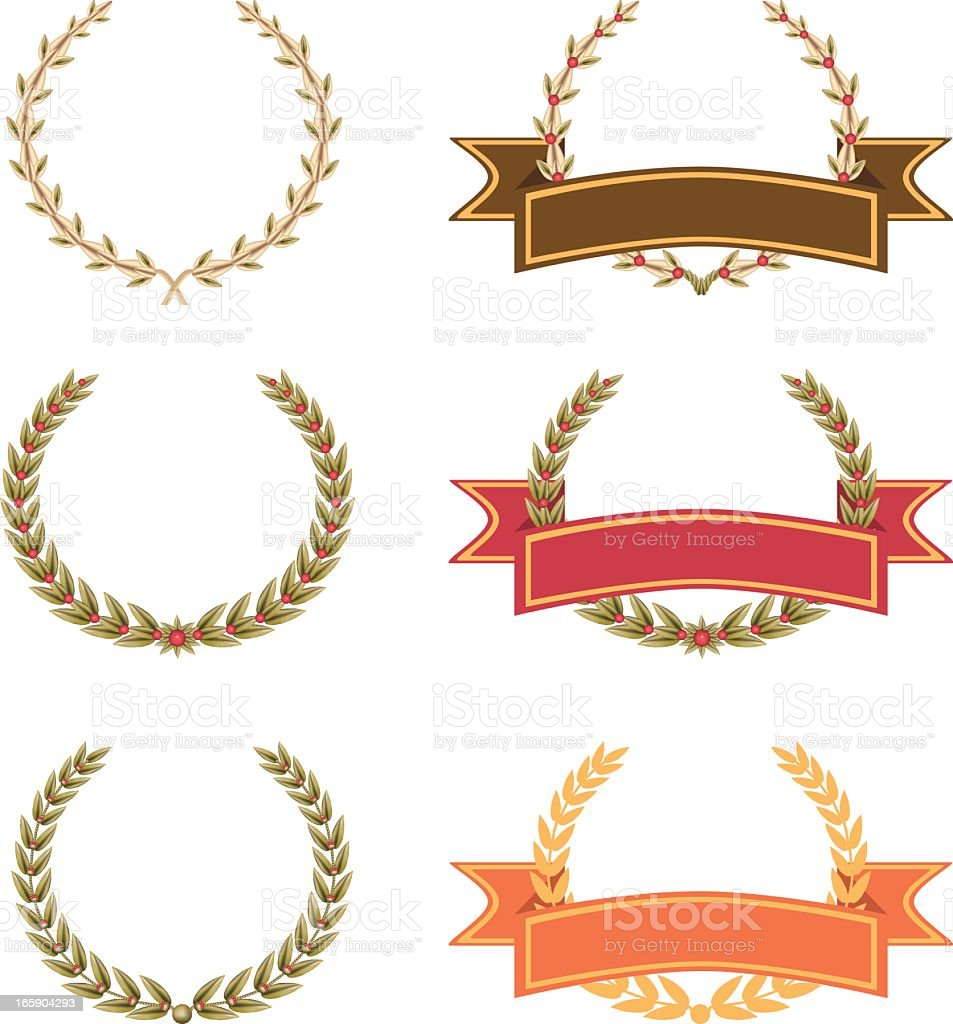Ribbon Laurel vector art illustration