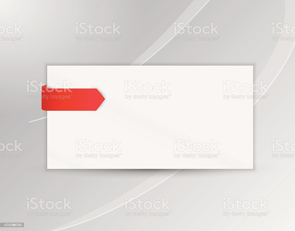ribbon or bookmark with blank paper vector art illustration