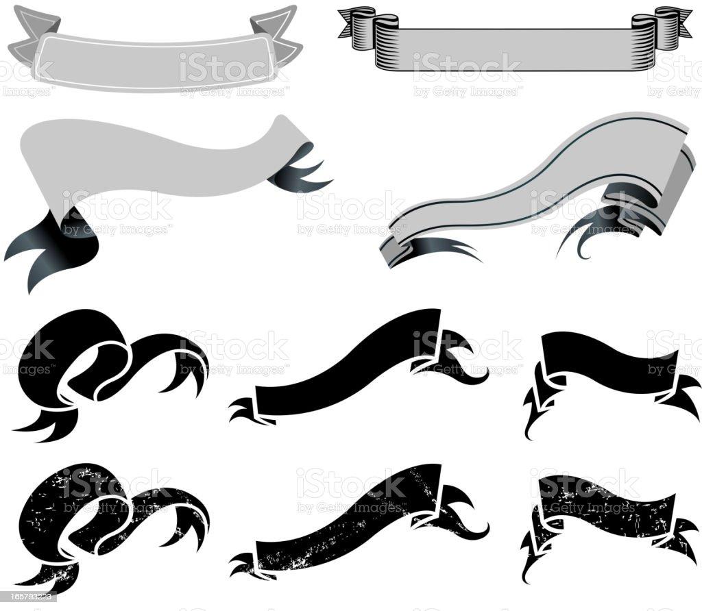 ribbon set vector art illustration