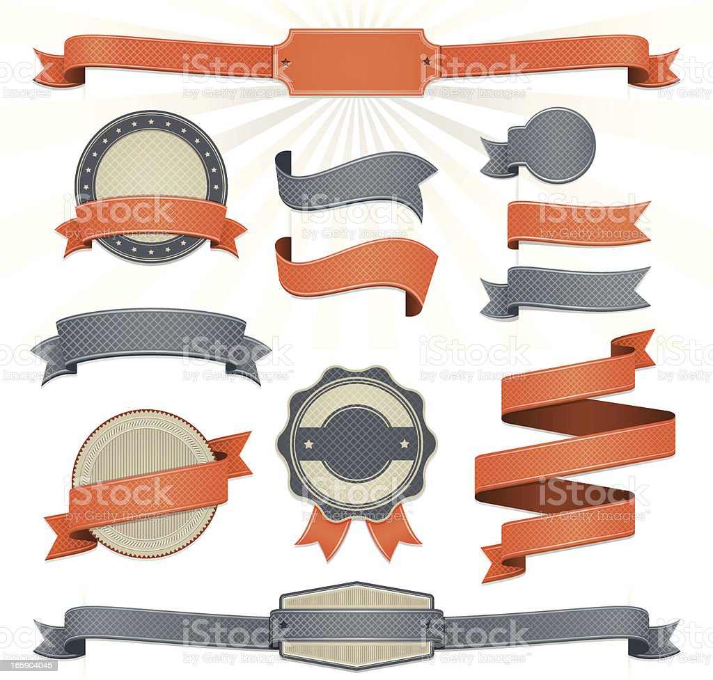 Ribbon Set vector art illustration