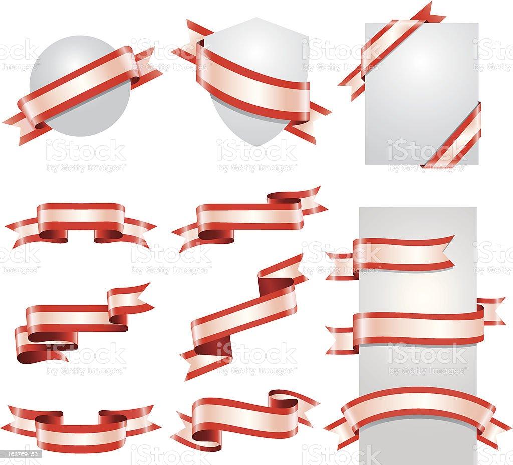 Ribbon Set (Red & White) vector art illustration