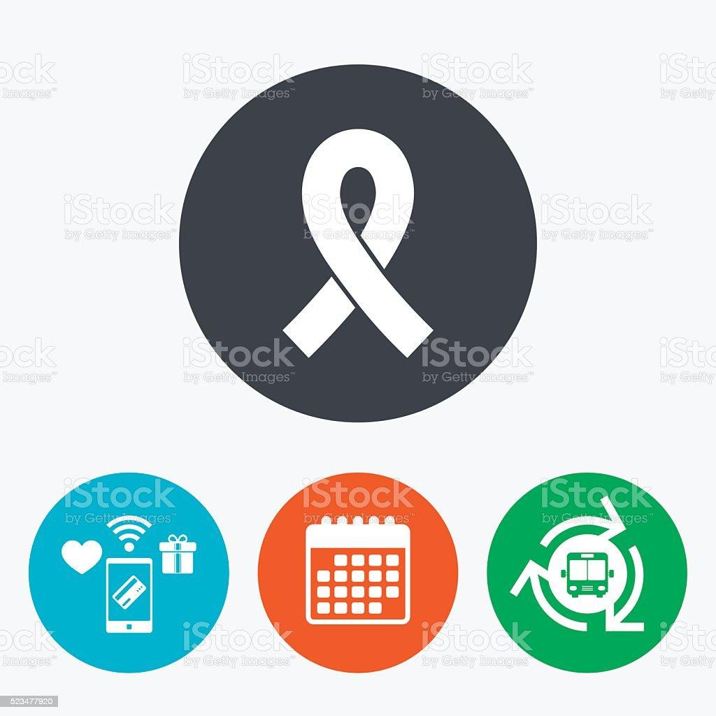 Ribbon sign icon. Breast cancer awareness symbol vector art illustration