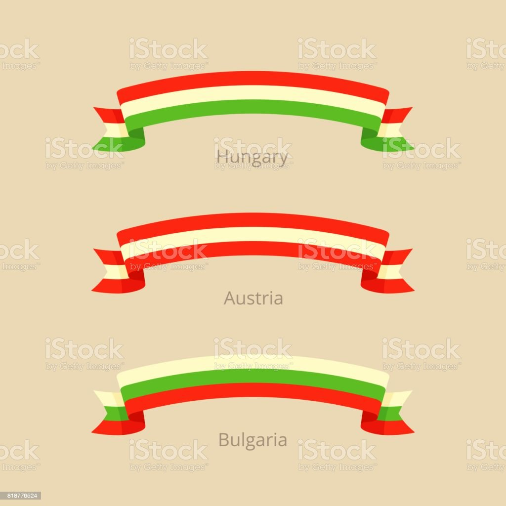 Ribbon with flag of Hungary, Austria and Bulgaria. vector art illustration