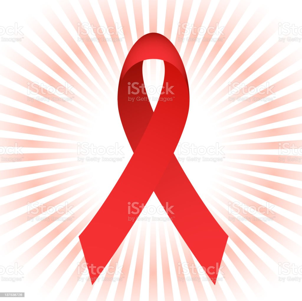 AIDS ribbon with glow vector art illustration