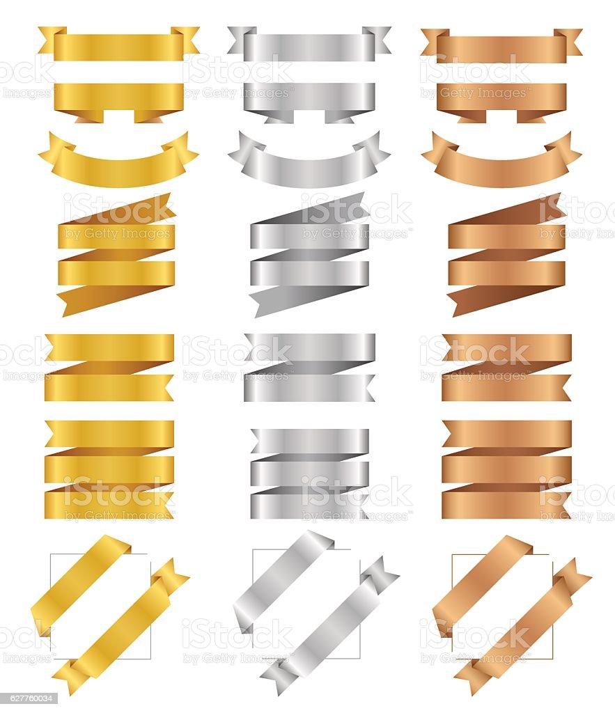 ribbon_set_gold vector art illustration