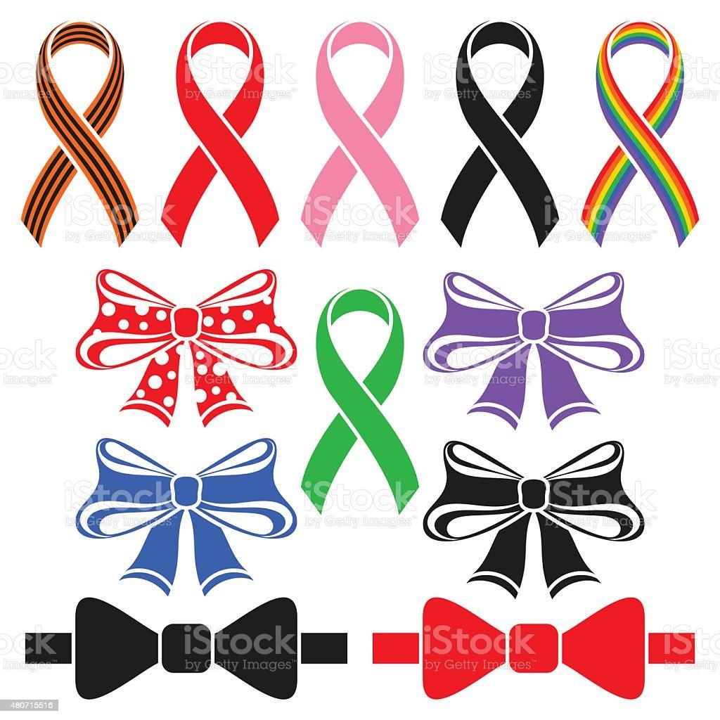 Ribbons and bows vector art illustration