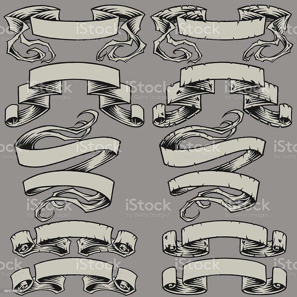 Ribbons and Damaged Ribbons vector art illustration