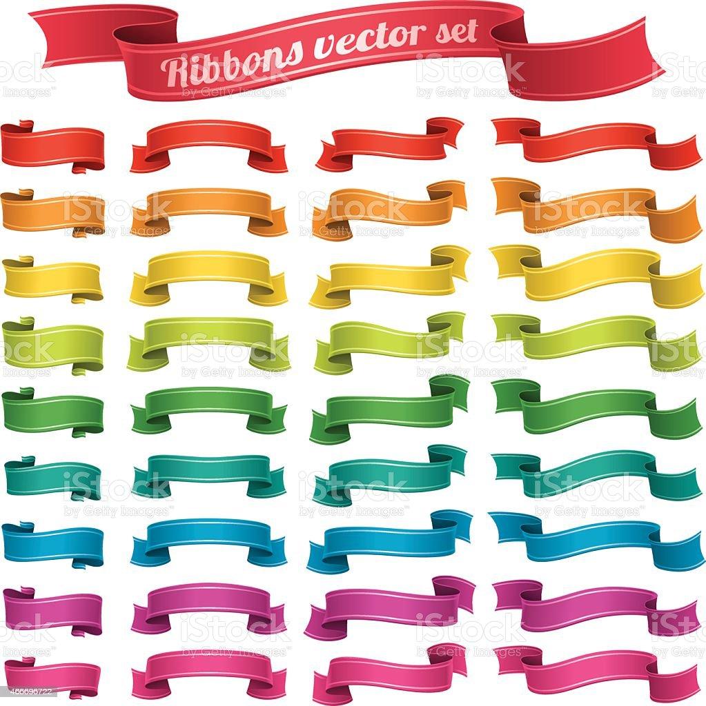 Ribbons banner vector set vector art illustration