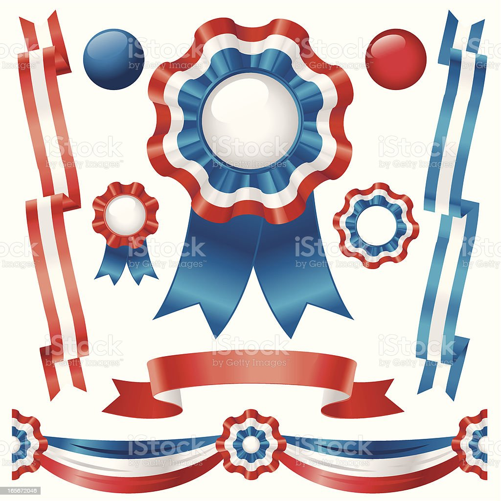 Ribbons in Red,White and Blue vector art illustration
