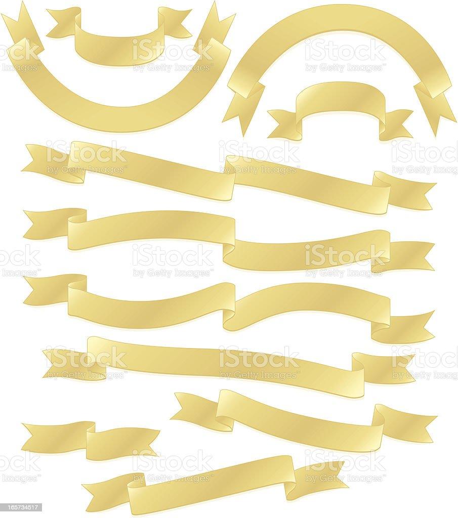 Bänder oder Banner-Set: Gold Metallic Lizenzfreies vektor illustration
