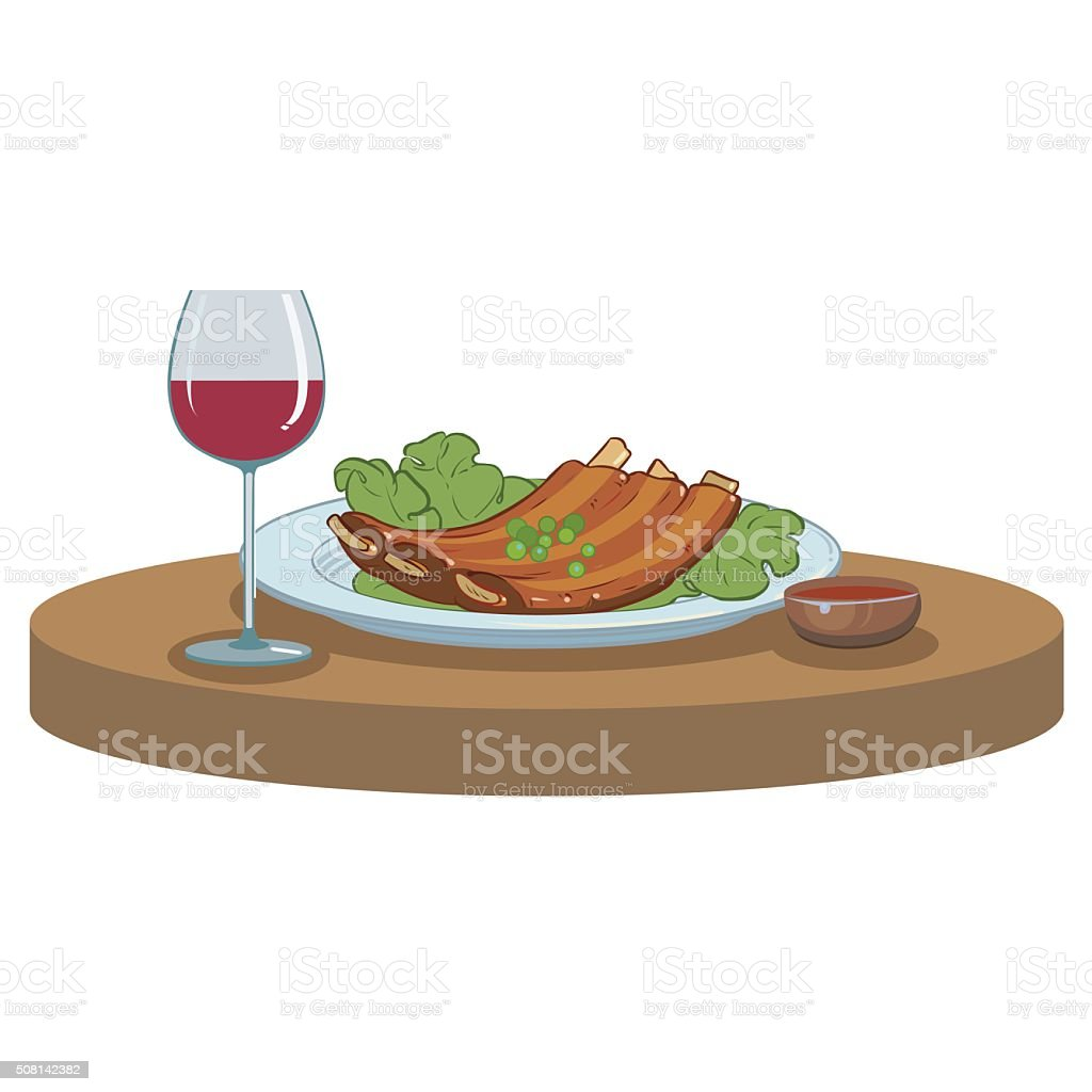 BBQ ribs and a glass of wine vector art illustration