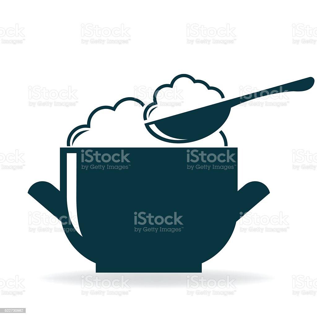 rice bowl icon vector vector art illustration
