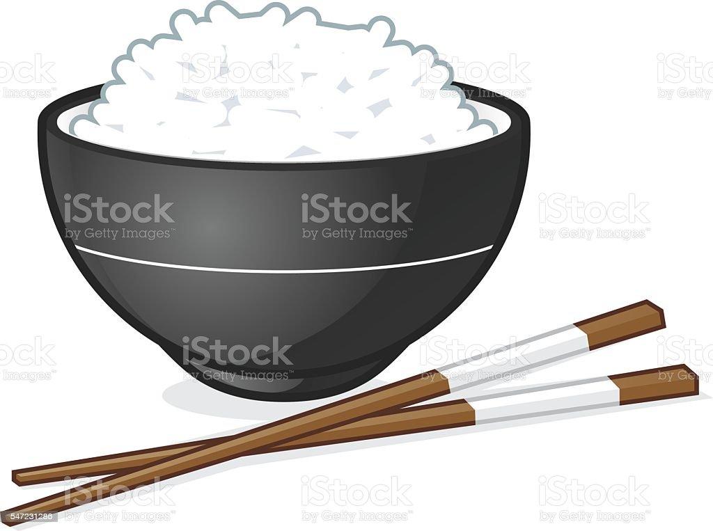 Rice bowl vector art illustration