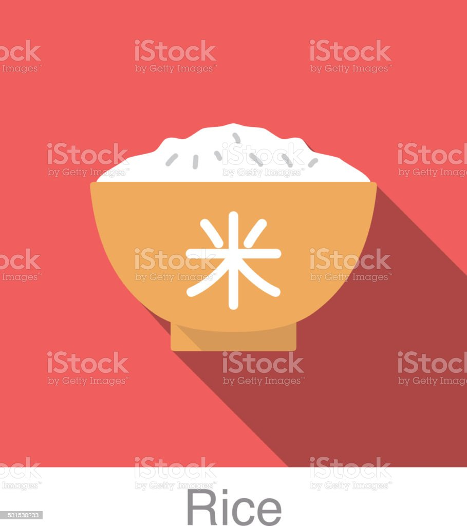 Rice Chinese food flat icon design vector art illustration