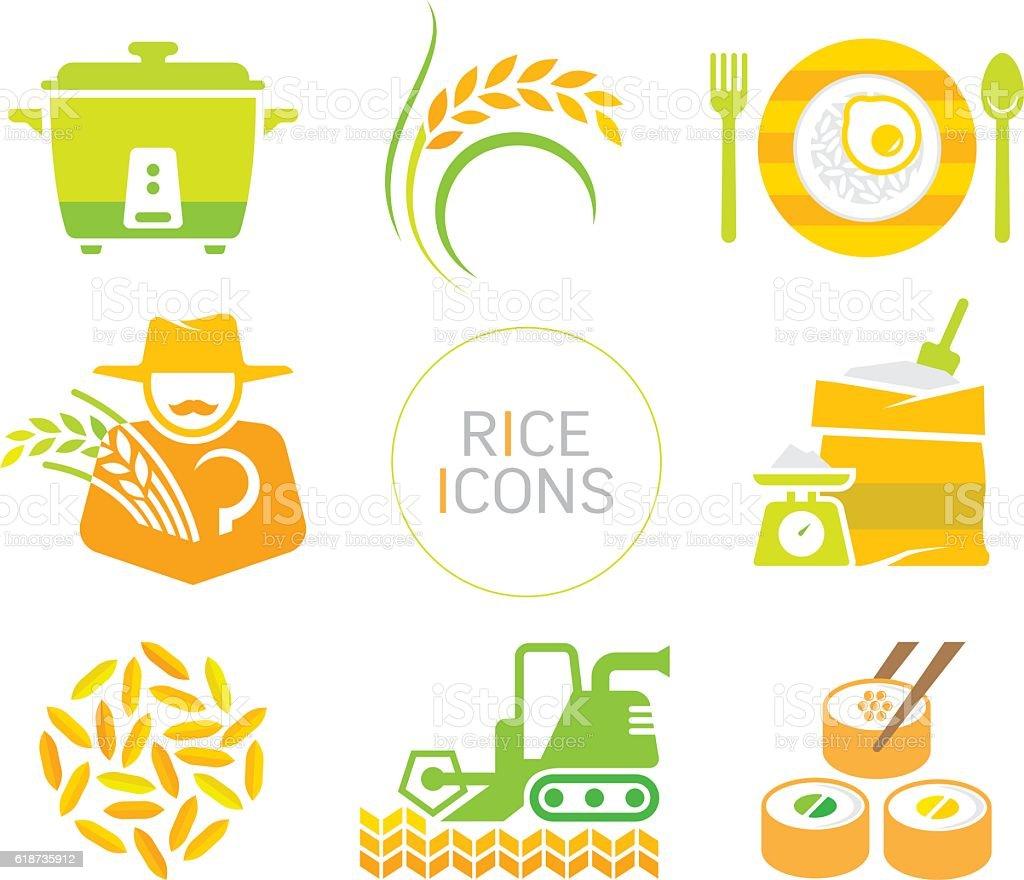 rice icons vector art illustration