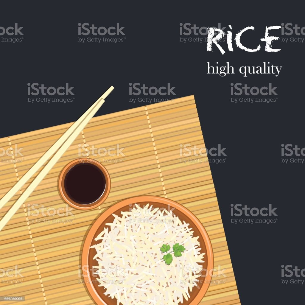 Rice in ceramic bowl with chopsticks. Kitchen bamboo mat, sauce tureen vector art illustration