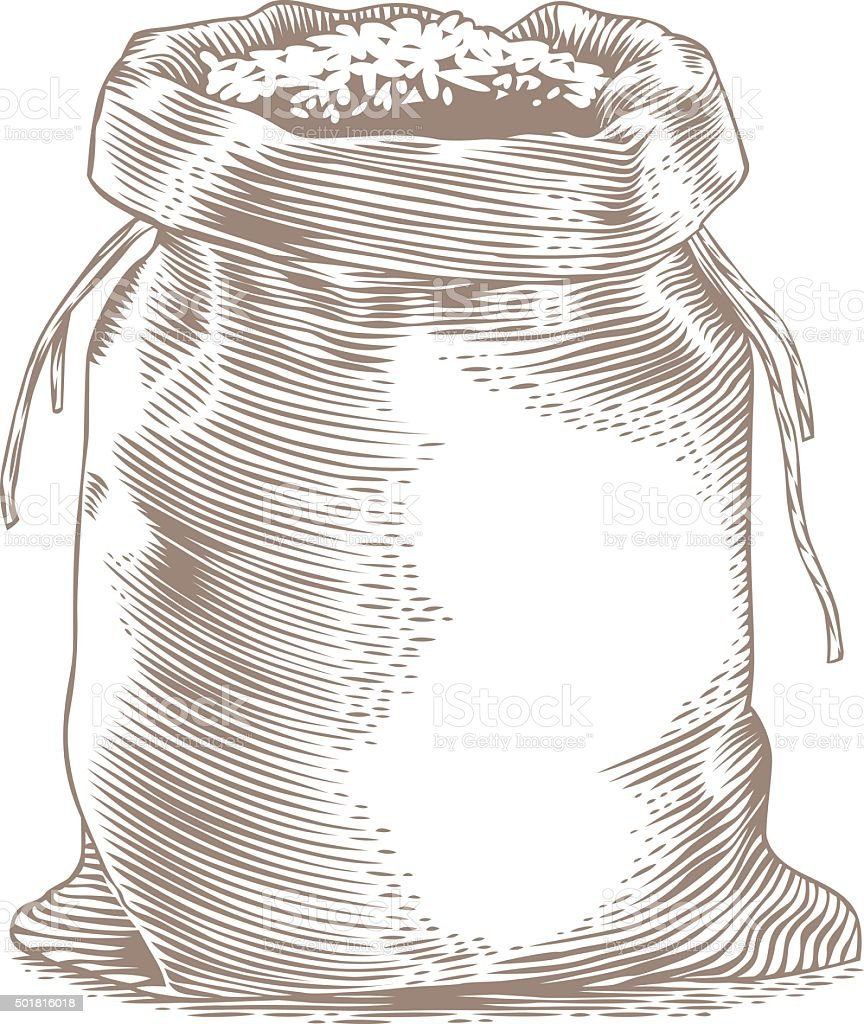 Rice in the sack vector art illustration