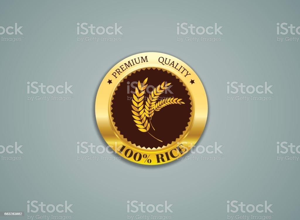 Rice label gold quality Vector illustration vector art illustration