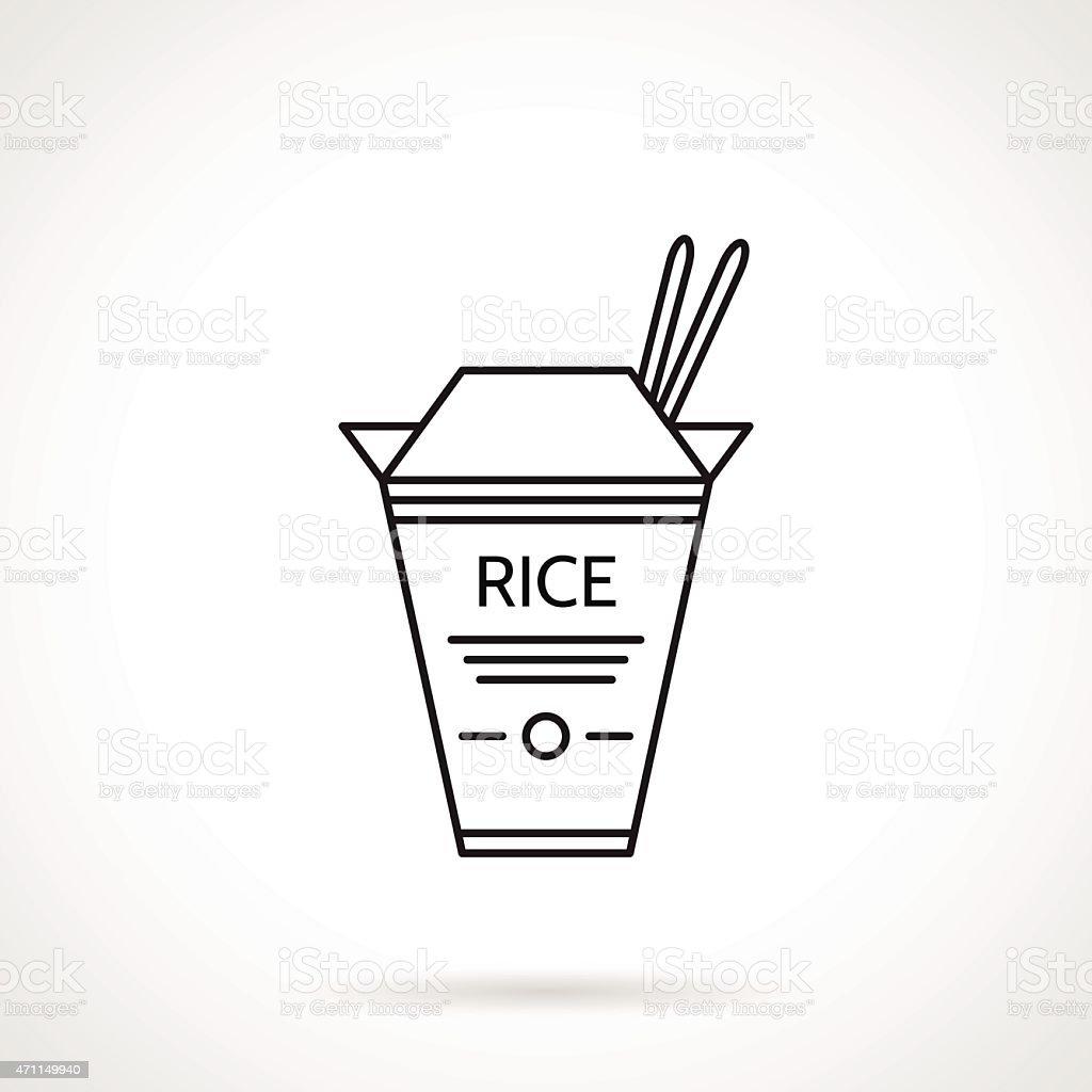 Rice pack black line vector icon vector art illustration