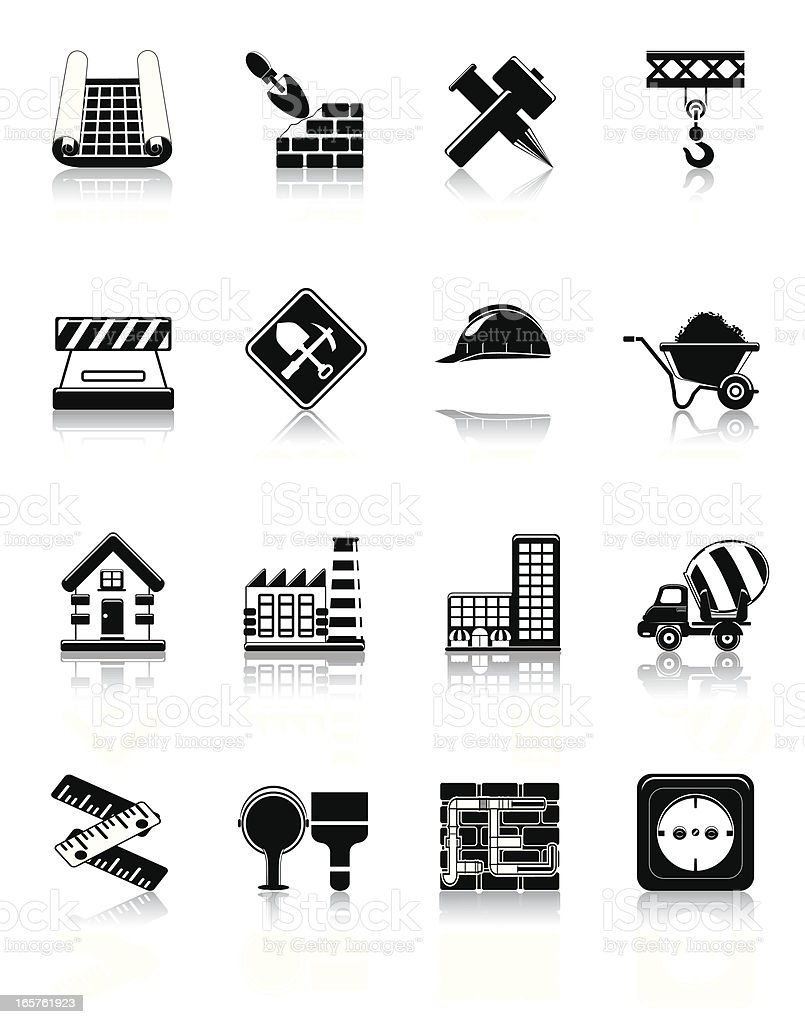 Rich Black Icon Set: Construction royalty-free stock vector art