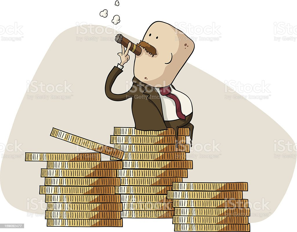 rich boss sitting on a pile of coins royalty-free stock vector art