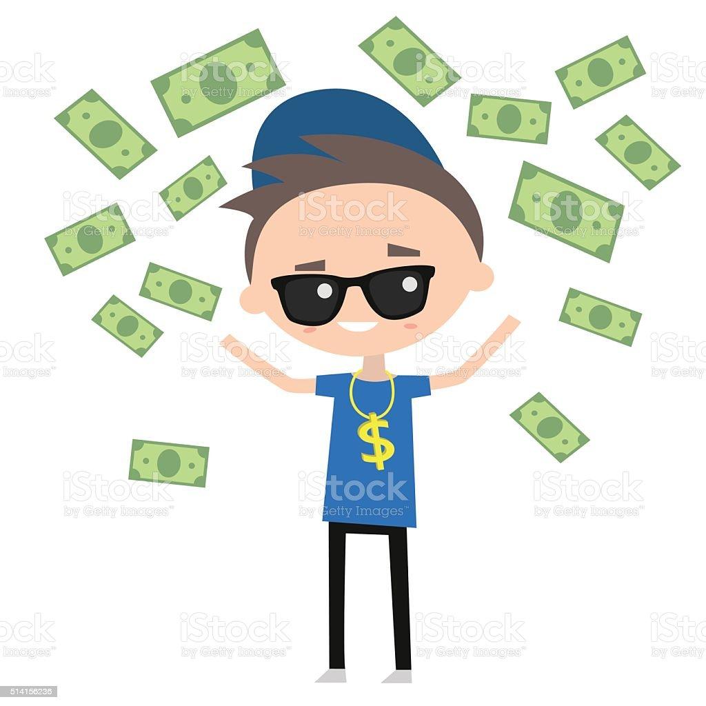 Rich boy vector art illustration