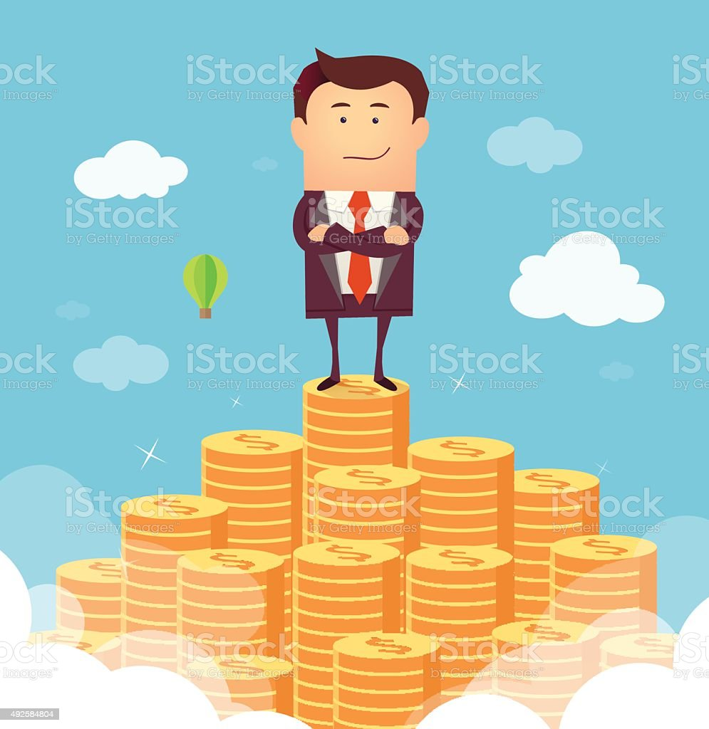 Rich businessman vector art illustration
