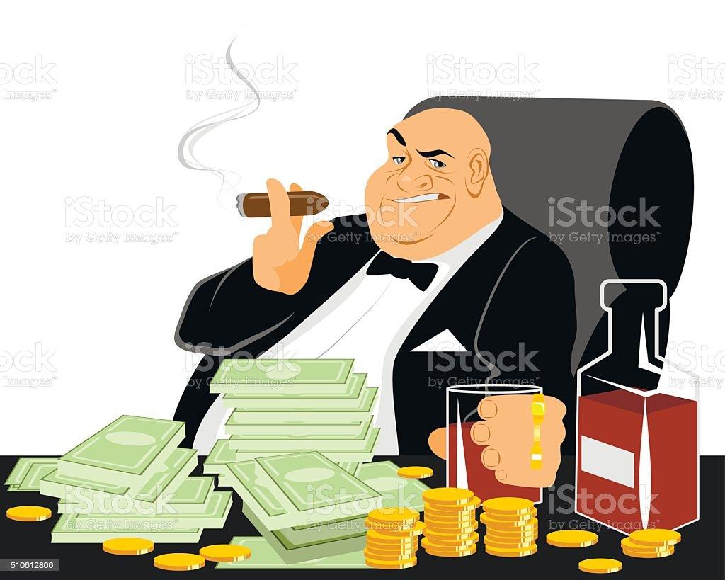Rich man smoking vector art illustration