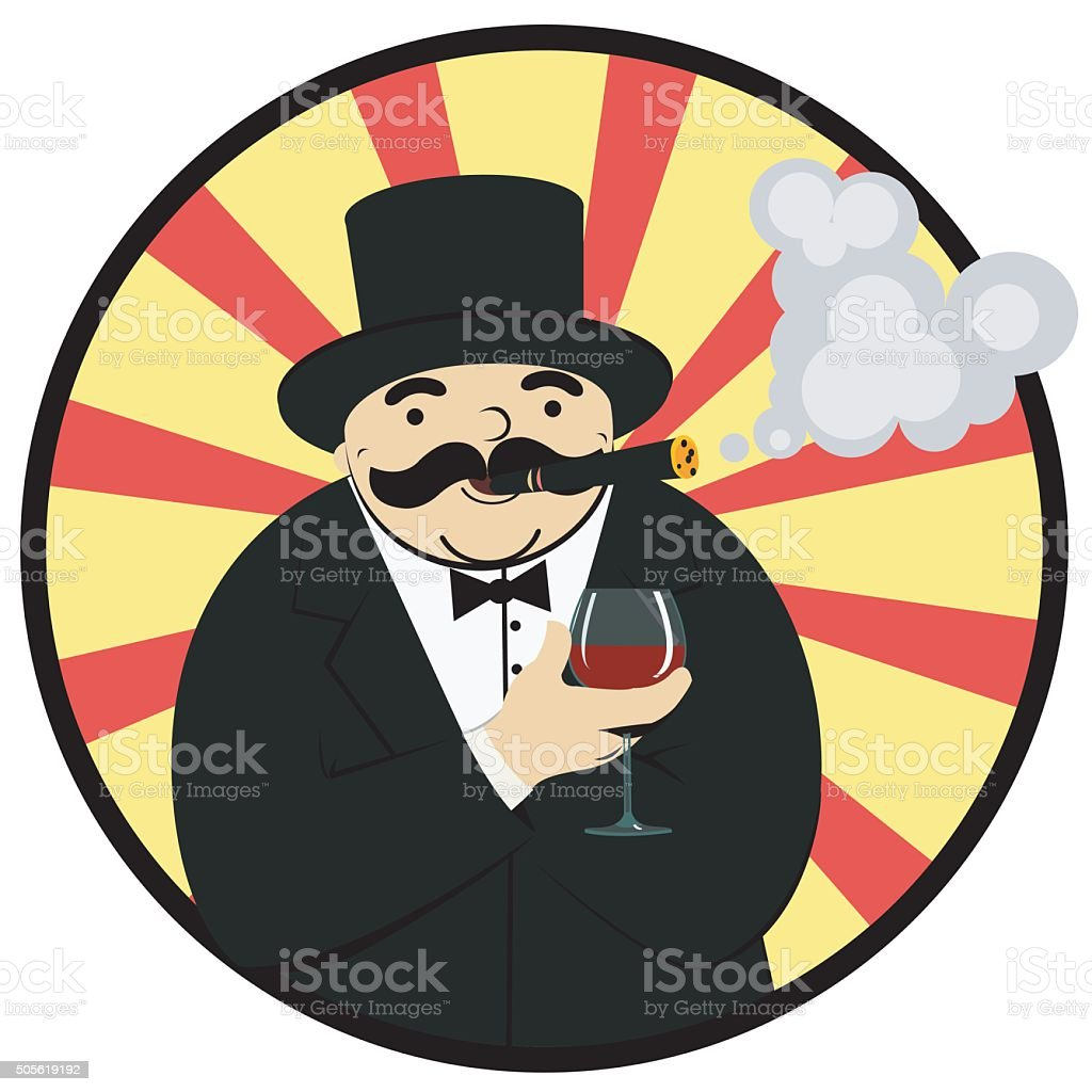 rich man with a glass of wine royalty-free stock vector art