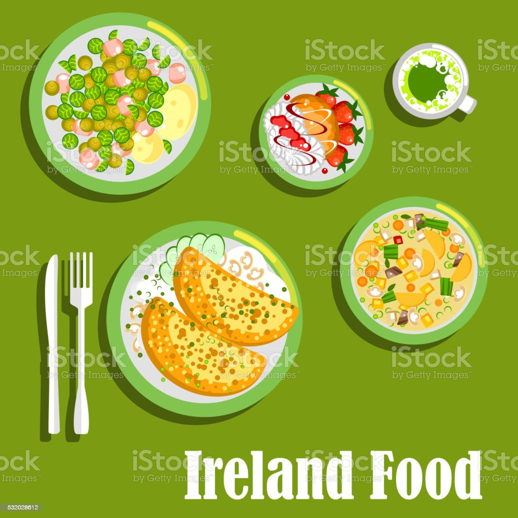 Rich meaty dishes of irish cuisine flat icon vector art illustration