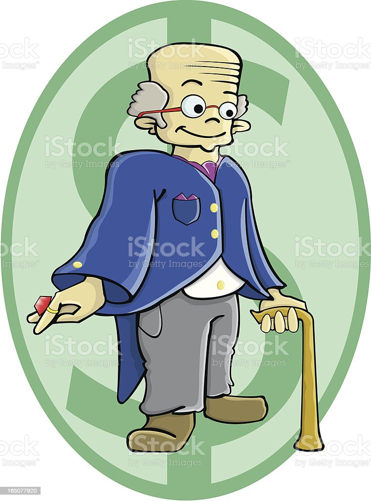 Rich old man vector art illustration