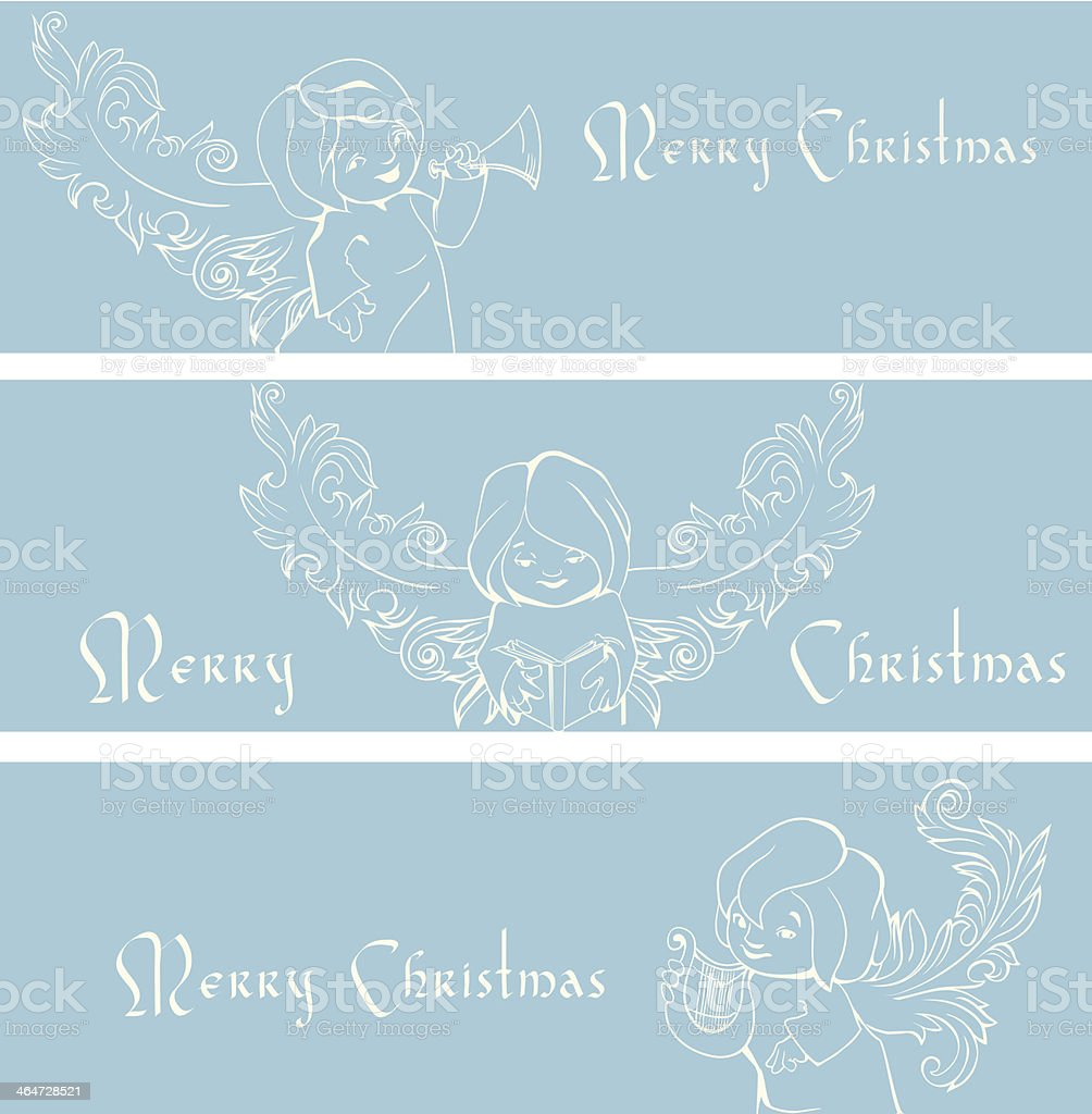 Rich ornate Christmas banner background with singing angels. vector art illustration