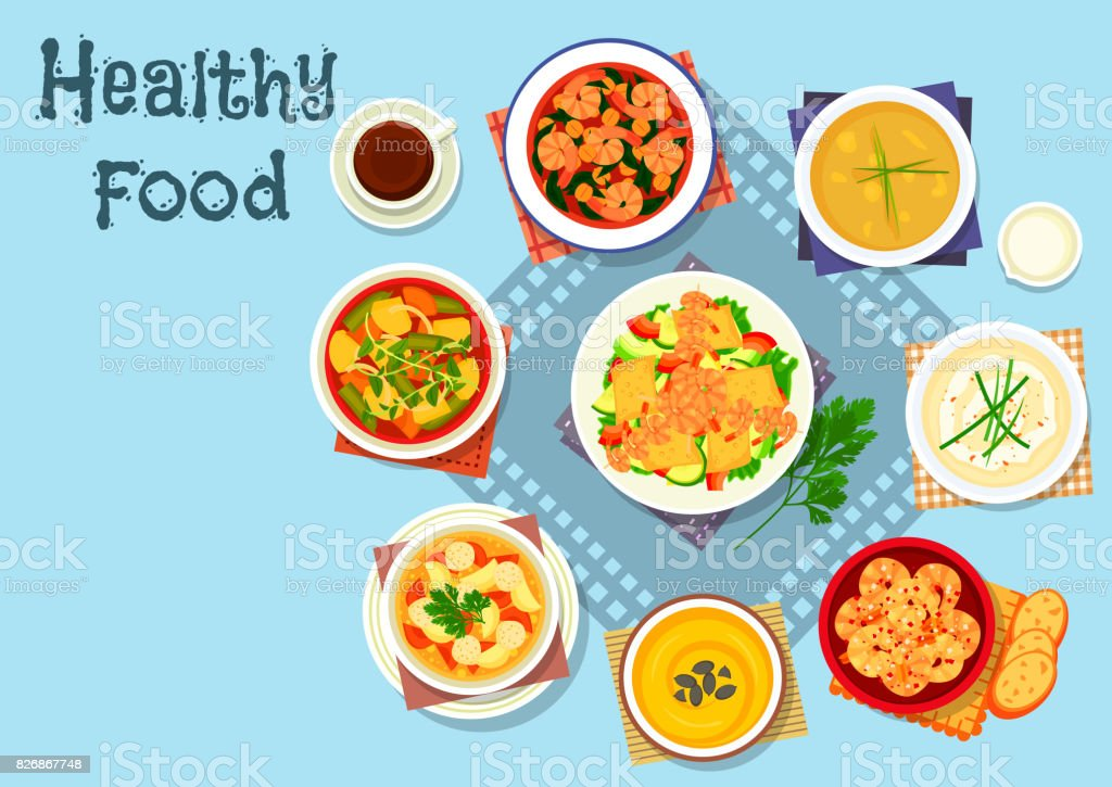 Rich soup and seafood dishes icon, food design vector art illustration