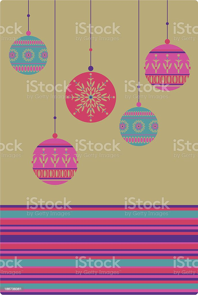 Richly Colored Christmas Baubles & Border Stripe royalty-free stock vector art